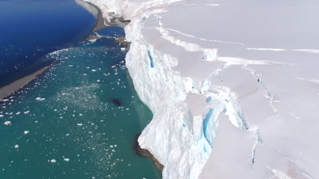 flying views over glaciers on livingston island, antarctica - antarctica aerial stock videos & royalty-free footage