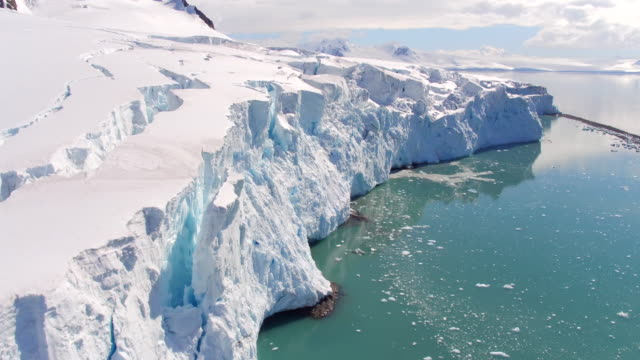 vídeos de stock, filmes e b-roll de flying views over glaciers on livingston island, antarctica - pólo sul