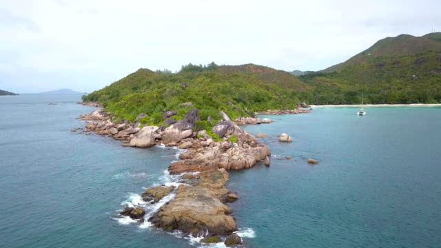 Flying with drone over Anse Possession - Praslin iceland
