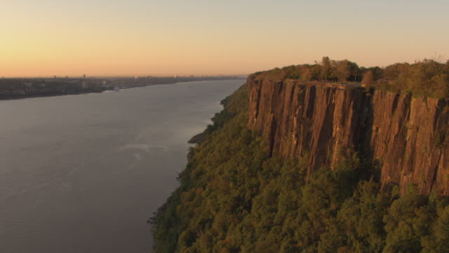 flyover aerial of the palisades - hudson valley stock videos and b-roll footage