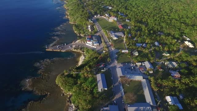 flyover alofi township, niue - samoa stock videos & royalty-free footage
