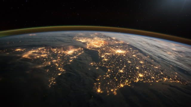 flyover france, england and northern ireland. view from space. - spazio cosmico video stock e b–roll