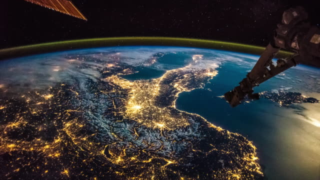 iss flyover france, switzerland, italy, sicily. view from space - razzo spaziale video stock e b–roll