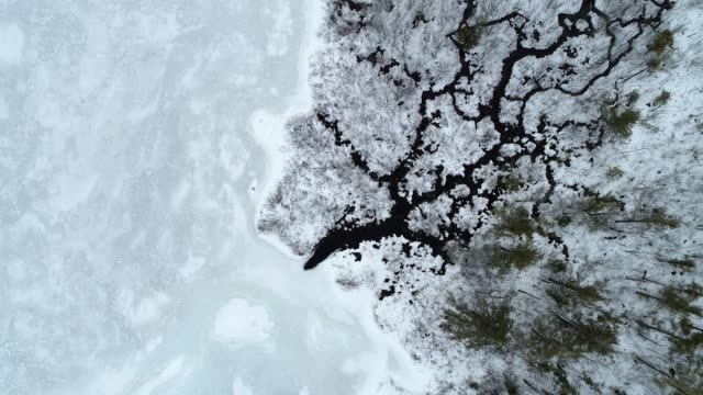 flyover of frozen lake in winter - wilderness area stock videos & royalty-free footage