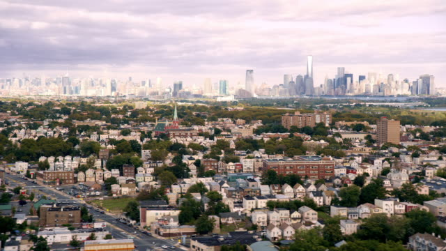 Flyover of New Jersey, Downtown Manhattan in distance