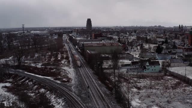 flyover urban neighborhood in winter. - buffalo new york state stock videos & royalty-free footage