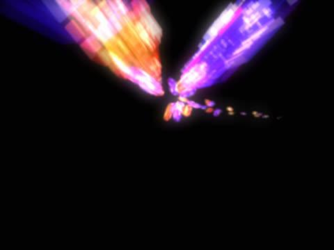 vídeos de stock e filmes b-roll de fly-through into multi-coloured shining light shapes - multimédia