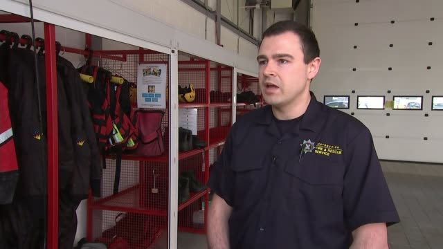 over 2500 incidents reported a day reporter shaking hands with mike buratti as door of fire station opens mike buratti interview sot ext various of... - disposal container stock videos and b-roll footage