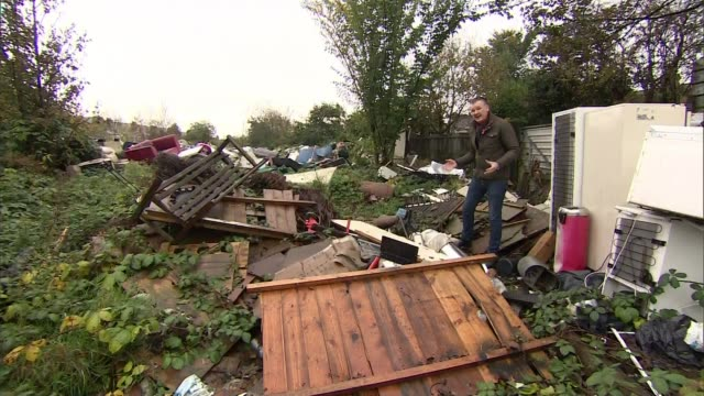 stockvideo's en b-roll-footage met flytipping reaches record high in england england derby drone footage of large amount of flytipped rubbish shirley lawson interview sot various of... - derbyshire
