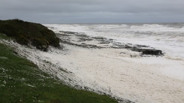 Foam wipped up by storm waves blows ashore at Craster on the Northumberland coast.