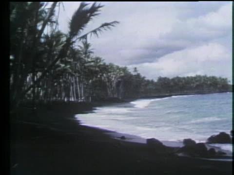 foamy white waves break on black sand. - beauty stock videos & royalty-free footage