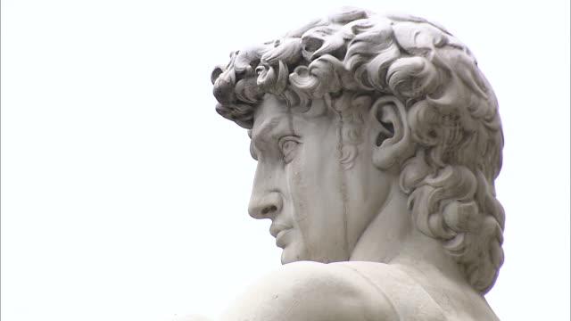 focus on low angle of head of david cut to torso of david - torso bildbanksvideor och videomaterial från bakom kulisserna
