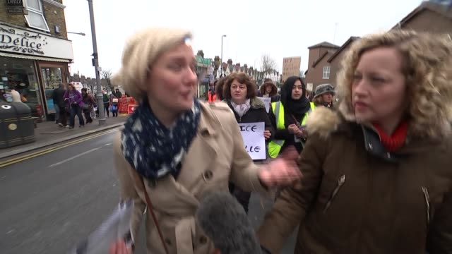 Focus on violence against women in run up to International Women's Day Vox pops SOT Creasy with loudhailer at head of the march Creasy walking at the...