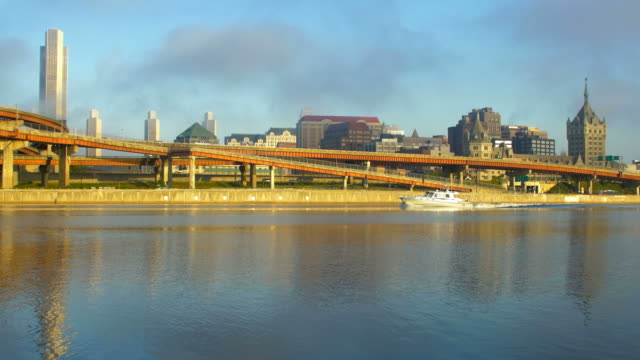 fog breaking up over the albany, new york skyline - albany new york state stock videos & royalty-free footage