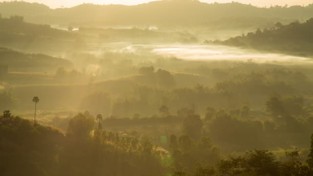 fog cover mountain in morning. - season stock videos and b-roll footage
