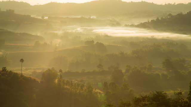 Dimma täcker berget i morgon.