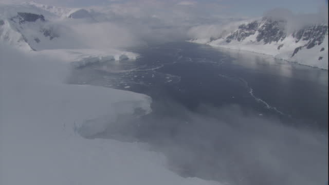 fog drifts over an icy coast in antarctica. - antarctica stock videos & royalty-free footage