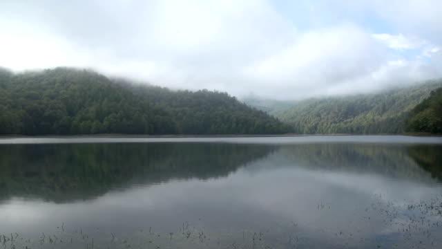 nebel des lake göygöl (goygol - kaukasus geografische lage stock-videos und b-roll-filmmaterial