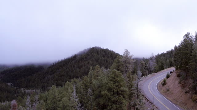 fog over mountain road, santa fe, new mexico, united states - fog stock videos & royalty-free footage