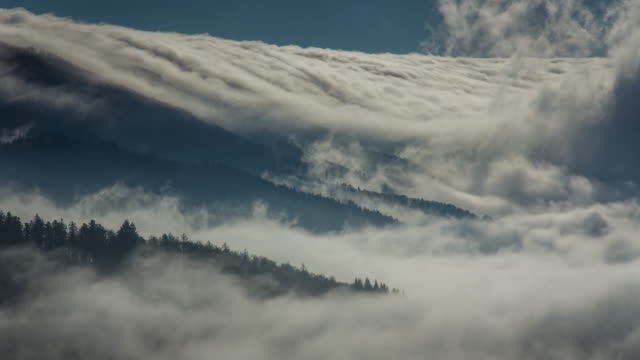 fog pouring over hills - hill stock-videos und b-roll-filmmaterial