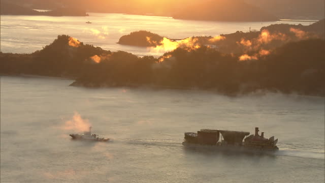 Fog rising over the Inland Sea (Setonaikai)