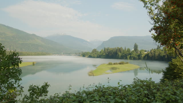 fog rolling along water in the morning in revelstoke, vii-i - polarizer stock videos & royalty-free footage