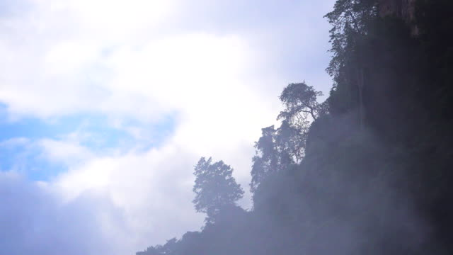 4k: fog rolls across flowing over mountains - condensation stock videos & royalty-free footage