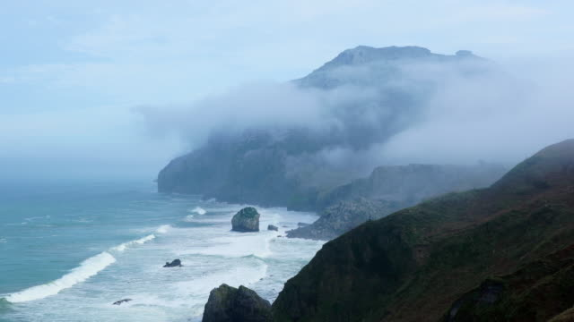 Fog, San Julian beach, Candina Mountain,  Liendo Valley, Montaña Oriental Costera, Cantabrian Sea, Cantabria, Spain, Europe