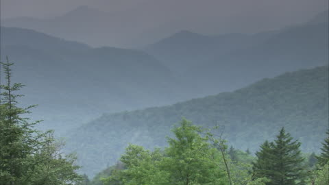 fog settles between the forested hills of the vast appalachian mountains. - appalachia stock videos & royalty-free footage