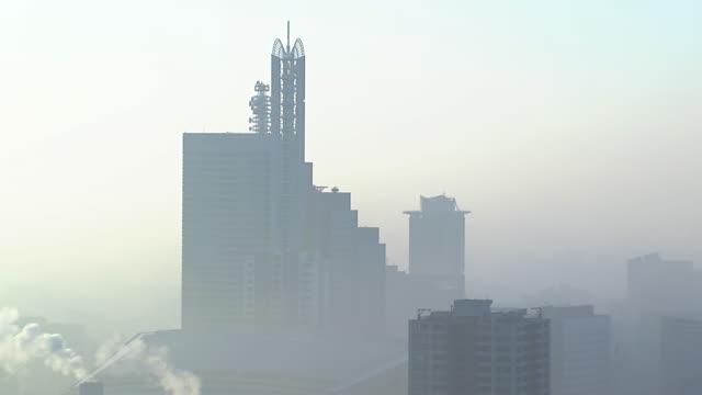 fog shrouded saitama shot from omiya sonic city, japan - saitama city stock videos & royalty-free footage