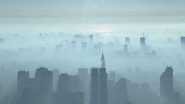 AERIAL, Fog Shrouded Tokyo Skyline, Japan