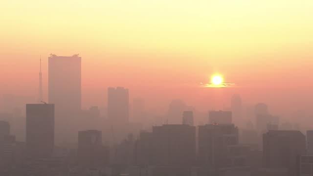 Fog Shrouded Tokyo Skyline Shot From NHK, Shibuya, Japan