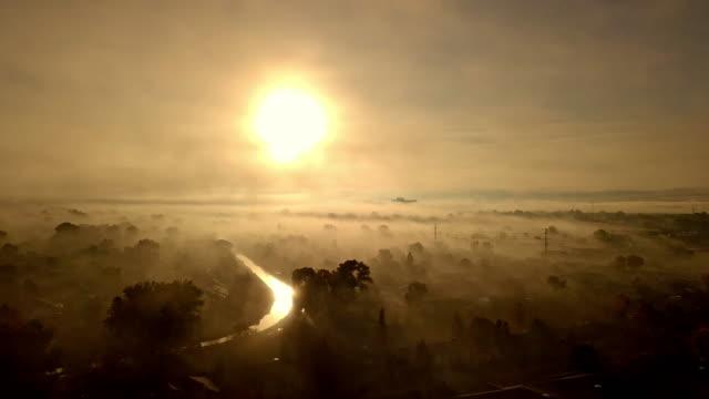 foggy morning over western colorado drone footage - colorado stock videos & royalty-free footage