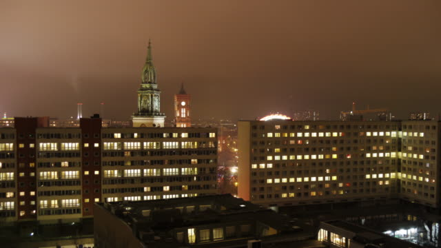 foggy night in berlin with red city hall and st. nicholas' church - alexanderplatz stock videos & royalty-free footage