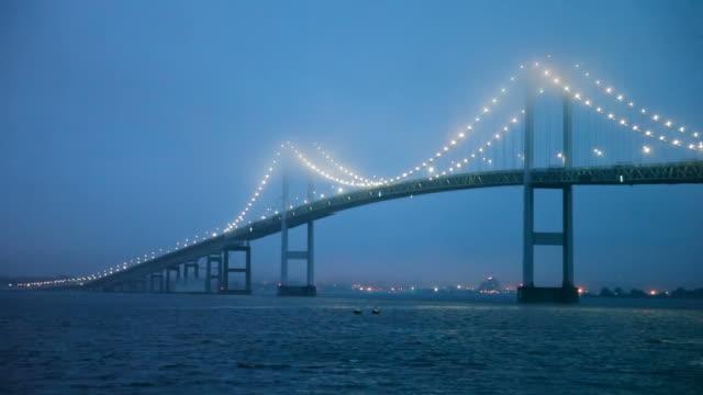 foggy night in newport - suspension bridge stock videos & royalty-free footage