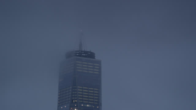 foggy shot of the freedom tower - overcast stock videos & royalty-free footage