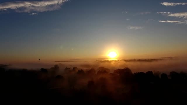 foggy vilage sunrise in cold spring minnesota - minnesota stock videos & royalty-free footage