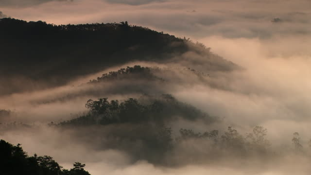 fogs moving over mountain in taiwan - taiwan stock videos and b-roll footage