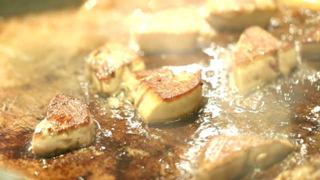 hd: foie gras cooking - foie gras stock videos and b-roll footage