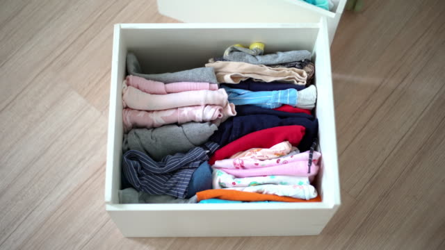 folded clothes in dresser drawers - drawer stock videos & royalty-free footage
