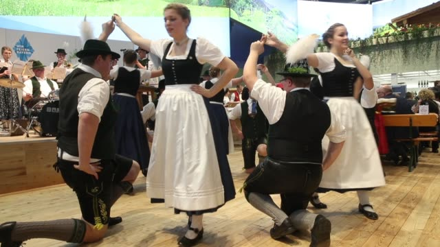 A folk dance ensemble from the Chiemsee region of Bavaria performs at the 2018 International Green Week agricultural trade fair on January 19 2018 in...