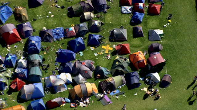 folk festival near rorvig  - aerial view - zealand, odsherred kommune, denmark - tent stock videos and b-roll footage