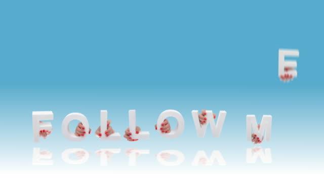 följ mig sociala medier text - följa rörlig aktivitet bildbanksvideor och videomaterial från bakom kulisserna