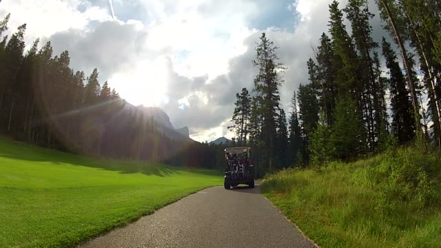 pov following a golf cart through the woods along the cart track - golf cart stock videos and b-roll footage