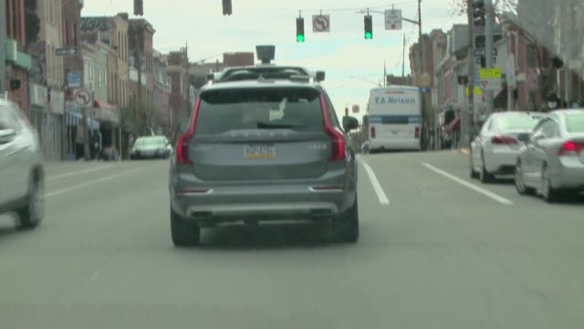 following a selfdriving uber around pittsburgh various street shots license plate is not blurred - driverless transport stock videos & royalty-free footage