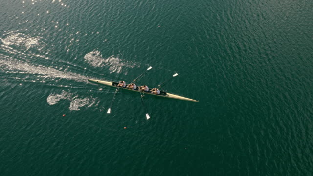 aerial following athletes rowing in a coxless four across a lake in sunshine - canottaggio senza timoniere video stock e b–roll
