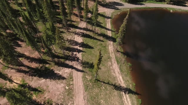 Following behind horses high, Rocky Mountains Reveal Fall colors Lake Reflection, Off road, rzr Wildlife, Foliage SHORT Aerial, 4K, Stock Video Sale - Drone Discoveries - Drone Aerial View