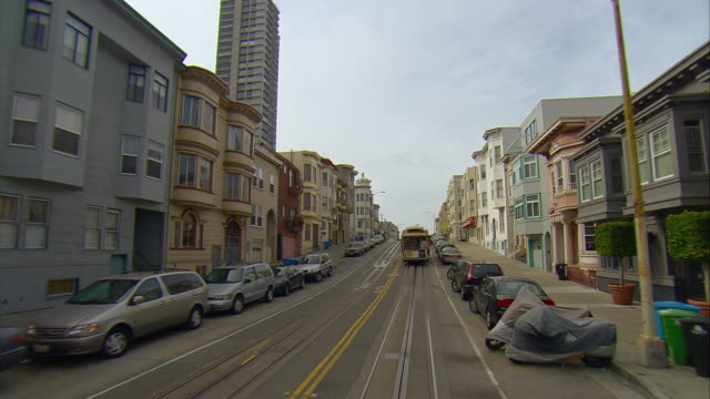 pov following cable car riding on mason street, san francisco, california, usa - car point of view stock videos & royalty-free footage