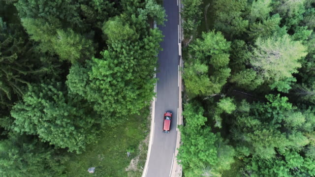 nach autofahren auf straße durch wald aus drohnensicht - ländliche straße stock-videos und b-roll-filmmaterial