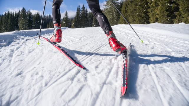 following cross country skier - track imprint stock videos and b-roll footage
